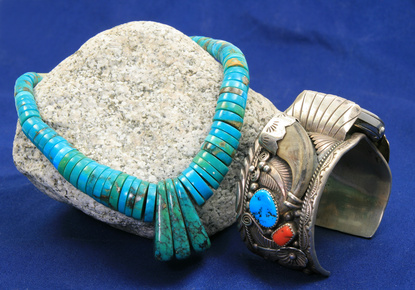 Turquoise necklace and sterling silver watch
